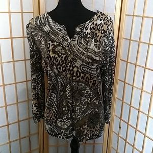 Notations Paisley and Leopard Print Cardigan XL